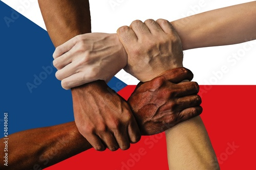 Photo  Czech Republic flag, intergration of a multicultural group of young people