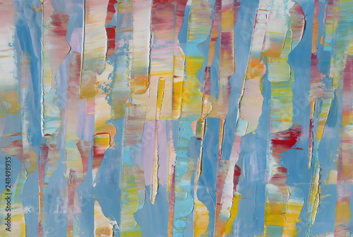 Fototapety, obrazy: Highly-Textured Colorful Abstract Painting Background. Natural Texture of Oil Paint & Blur. High Detail. Can be used for web design, art print, textured fonts, figures, shapes, etc.