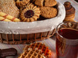 dessert, tea, cookies, waffle tube, black tea, oatmeal cookies, sugar wafers, chocolate biscuit, basket, flax