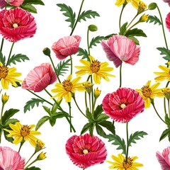 Fototapeta Do sypialni Poppy flower seamless pattern-vector