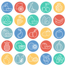 Fruit Icons Set On Color Circles White Background For Graphic And Web Design, Modern Simple Vector Sign. Internet Concept. Trendy Symbol For Website Design Web Button Or Mobile App