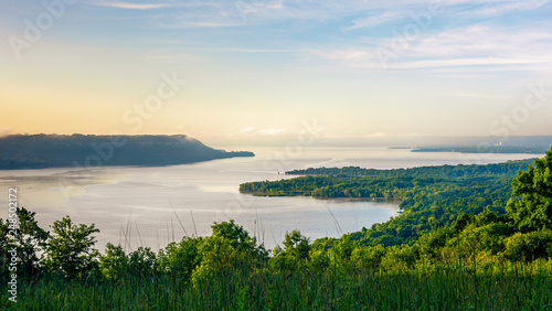 Fototapeta Scenic view at sunrise of the Mississippi River & Lake Pepin from Frontenac State Park in Minnesota obraz