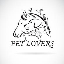 Vector Group Of Pets - Horse, Dog, Cat, Humming Bird, Parrot, Butterfly, Rabbit Isolated On White Background. Pet Icon Or Logo, Easy Editable Layered Vector Illustration.