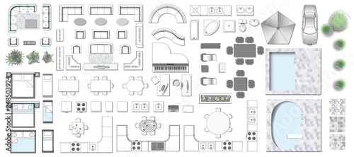 Obraz Set top view for interior icon 