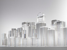 Abstract City, Buildings Made By Glass, 3D Rendering