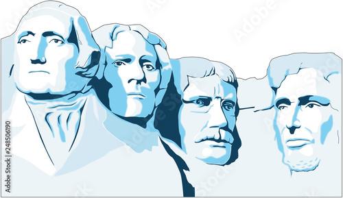 Fotografía Mount Rushmore Memorial Vector Illustration