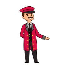 Cartoon Funny Doorman