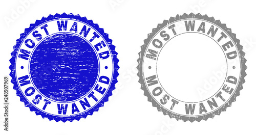 Grunge MOST WANTED stamp seals isolated on a white background. Rosette seals with distress texture in blue and grey colors. Vector rubber stamp imprint of MOST WANTED caption inside round rosette. - fototapety na wymiar