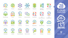 Cloud Computing Color Glyph Icon Set With Network Computer Data Server And Wireless Internet Technology Colorful Symbol.