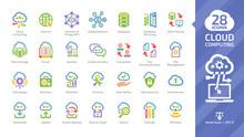 Cloud Computing Color Glyph Ic...