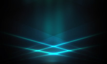 Product Showcase Spotlight Background. Clean Photographer Studio. Abstract Blue Background With Rays Of Neon Light, Spotlight, Reflection