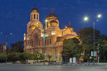 Fototapeta na wymiar Cathedral of the Dormition of the Mother of God in Varna in dusk, Bulgaria. The cathedral was built in 1880-1886.