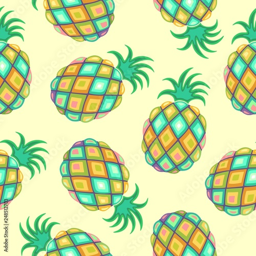 La pose en embrasure Draw Pineapple Pastel Colors Seamless Pattern Vector