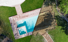 Aerial Of Before And After Pool Build Construction Site
