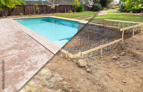 Stampa su Tela Before and After Pool Build Construction Site
