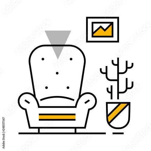 Interior design line illustration  SVG icon  Furniture icons