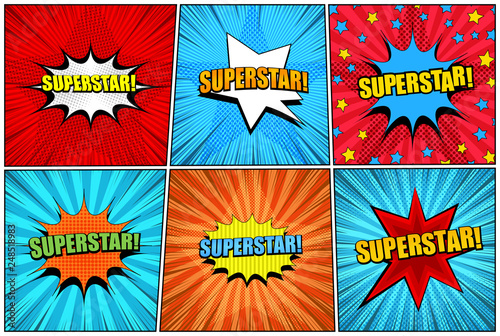 Fototapeta Comic superstar bright collection