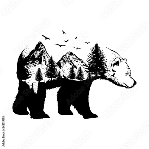 illustration of a bear with forest background