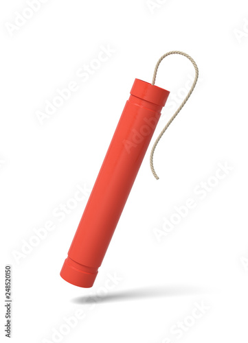 Fotografie, Tablou 3d rendering of one red TNT dynamite stick isolated on white background