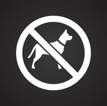 No Pets Allowed Sign On Black Background For Graphic And Web Design, Modern Simple Vector Sign. Internet Concept. Trendy Symbol For Website Design Web Button Or Mobile App