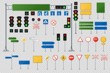 Big Realistic Set Of Road Signs And Traffic Lights And Semaphores.