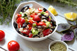 fresh salad with cherry tomatoes and black olives