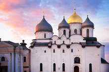 Saint Sophia Cathedral Of Veliky Novgorod, Built In XI Century, One Of The Most Ancient Russian Orthodox Churches, Russia