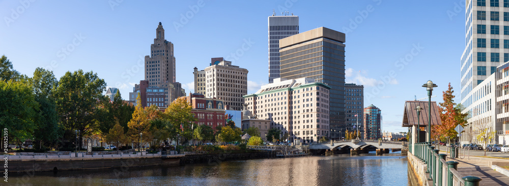 Fototapety, obrazy: Providence, Rhode Island, United States - October 25, 2018: Panoramic view of a beautiful modern downtown city during a vibrant sunny day.