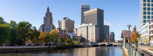 Providence, Rhode Island, United States - October 25, 2018: Panoramic View Of A Beautiful Modern Downtown City During A Vibrant Sunny Day.