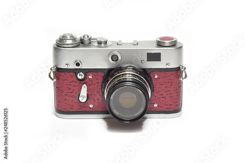 Old vintage analogic Camera isolated on white Wallpaper Mural