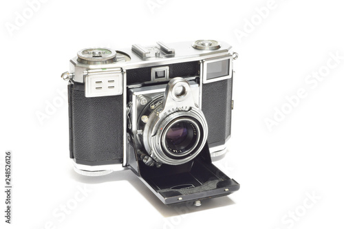 Old vintage analogic Camera isolated on white Canvas Print