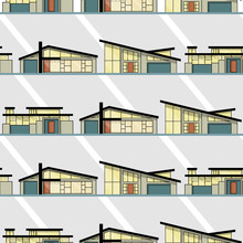 Mid Century Modern Houses With Gray Background