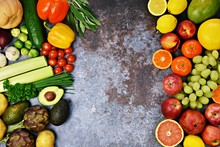 Assorted Fresh Fruit And Vegetables With Space For Your Text. Organic Fruit And Vegetables Top View And Isolated On Dark Background