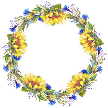 Watercolor Wreath With Sunflowers, Blue Cornflowers And Leaves. Hand Drawn Illustration On White Background.