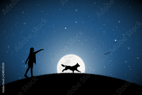 Valokuvatapetti Girl trains dog on moonlit night