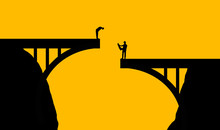 Plan Ahead Is The Theme Of This Illustration Of Workmen Inspecting A Bridge That Doesn't Come Together In The Middle.