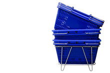 Plastic Blue Baskets Of A Grocery Market.