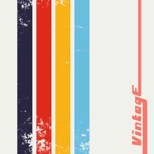 Vintage Grunge Background With Color Stripes. Retro Texture Lines Backdrop