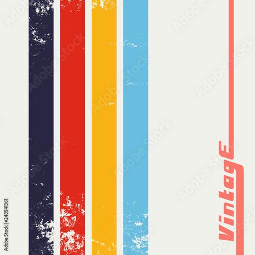 Vintage grunge background with color stripes Canvas Print