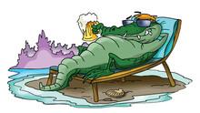 Cartoon Alligator Sunbathing And Relaxing On The Beach Vector Illustration