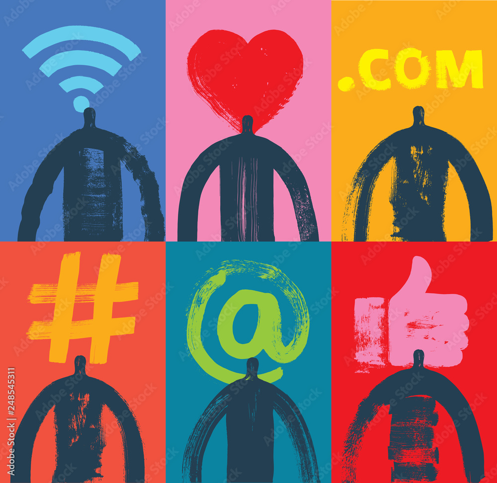 Fototapety, obrazy: Six Head & Shoulder Silhouettes, Vector Illustration, Grunge texture, Social Media,  Symbols, Marketing, Influencer, Instagram Followers, Facebook, likes, Digital media, like symbol, followers, people