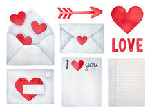 """Set Of Love Envelopes (opened And Closed), """"I Love You"""" Words, Blank Notebook Paper Sheet, Red Heart, Cupid Arrow. Handdrawn Water Color Painted Clip Art, Saint Valentine's Day Decoration And Symbols."""
