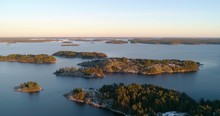 Drone Shot, Of Frosty, First Snowy Islands, At Sunset, At The Gulf Of Finland, On A Sunny, Cold, Fall Evening, Varsinais-suomi, Suomi.