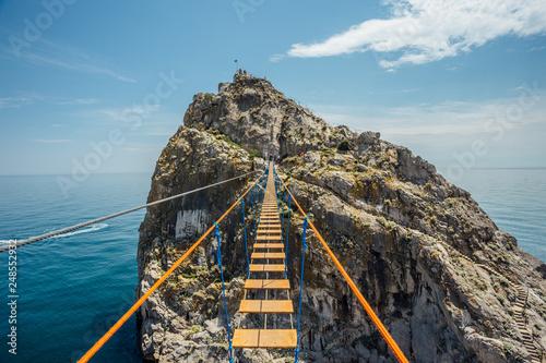 Canvastavla Suspension bridge over Black sea in Simeiz, Crimea