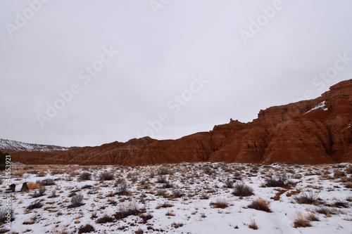 Photo Panaca, Nevada - 2019_01.07: Snow covered Cathedral Gorge
