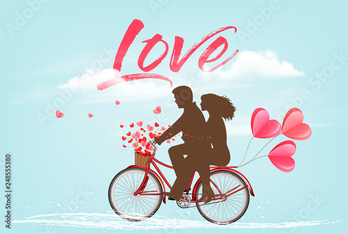 Printed kitchen splashbacks Light blue Valentine's Day background with a heart ballons and a bicycle with silhouelle. Vector.