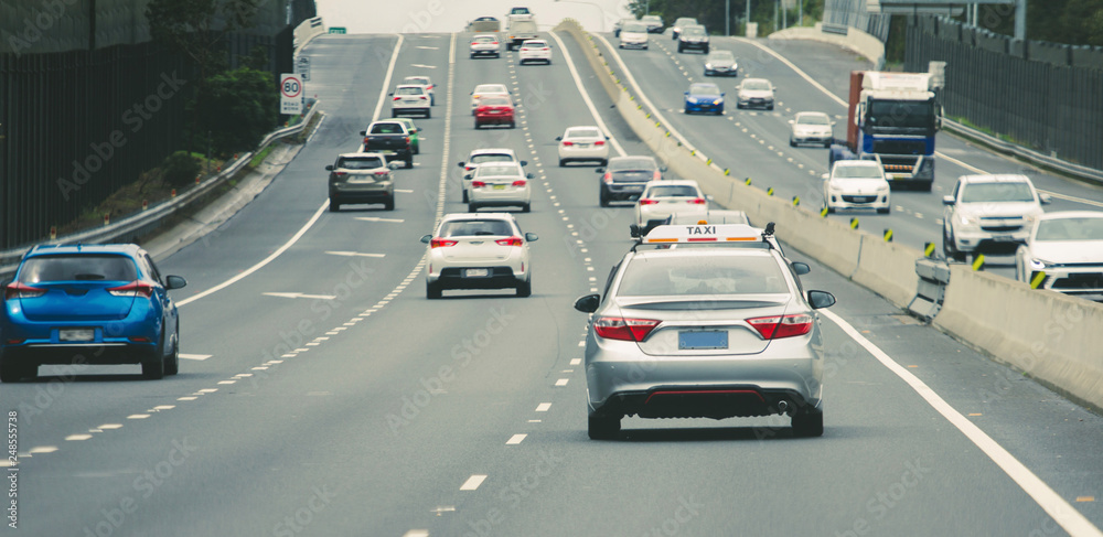 Fototapety, obrazy: Cars heavy traffic on highway