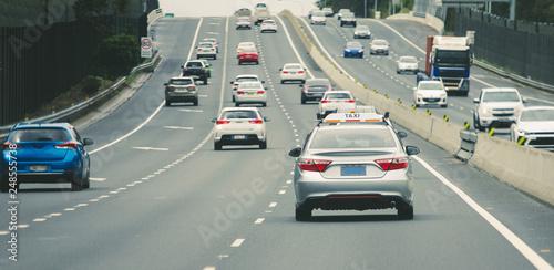 Obraz na plátně Cars heavy traffic on highway