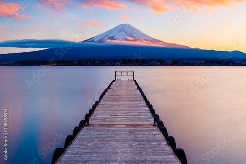 Mt. Fuji with a leading dock in Lake Kawaguchi, Japan