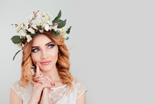 Skeptical Woman Floral Headband Thinking Finger On Cheek